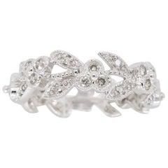 Floral Style Diamond Eternity Band in 18 Karat White Gold