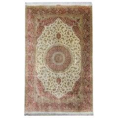 Floral Turkish Rug, Handmade Carpet Oriental Brown Silk Rug