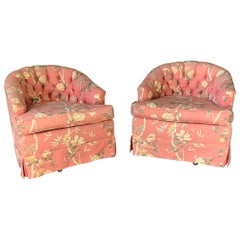 Floral Upholstered Tufted Swivel Club Chairs, Set of 2