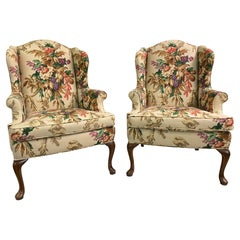 Floral Upholstered Wingback Chairs, A Pair