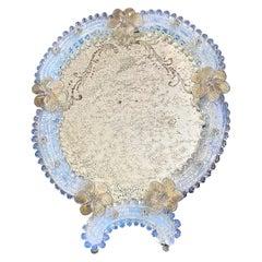 Floral Venetian Glass Murano Table Mirror