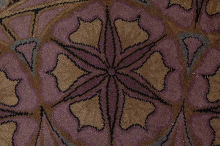 Viennese Secessionist Violet Blue and Yellow Floral Handwoven Wool Rug Size: 10'6