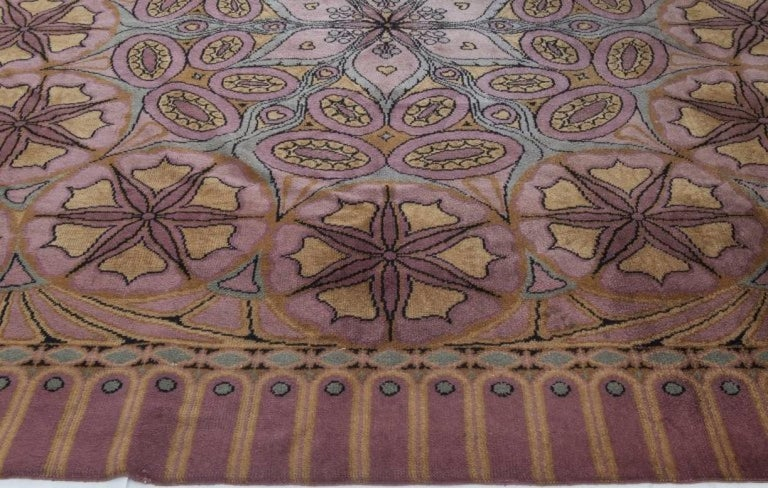 Art Nouveau Viennese Secessionist Violet Blue and Yellow Floral Handwoven Wool Rug For Sale