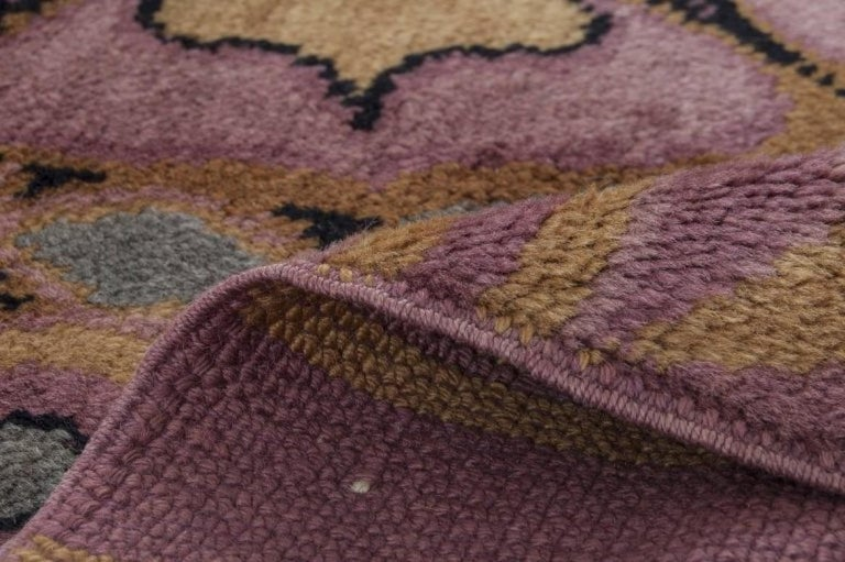 Austrian Viennese Secessionist Violet Blue and Yellow Floral Handwoven Wool Rug For Sale