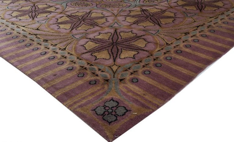 Hand-Knotted Viennese Secessionist Violet Blue and Yellow Floral Handwoven Wool Rug For Sale