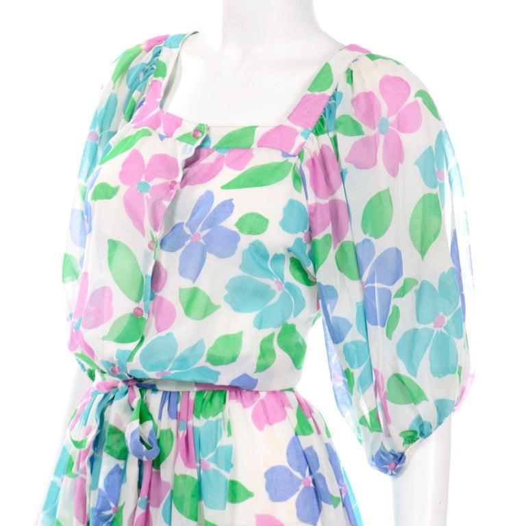 Vintage Albert Nipon Sheer Floral Dress With Sash Belt & Gathered Sleeves For Sale 1