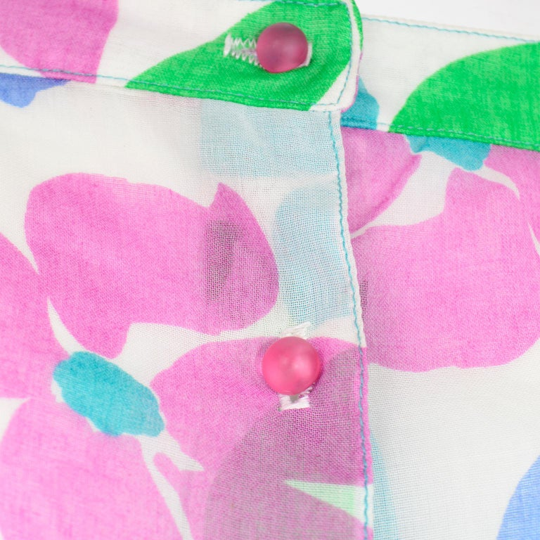 Vintage Albert Nipon Sheer Floral Dress With Sash Belt & Gathered Sleeves For Sale 2