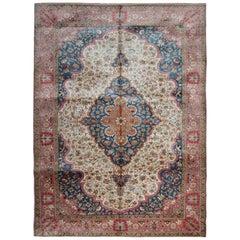 Fine Vintage Silk Rugs, Cream Hereke Turkish Rug, Pure Living Room Oriental Rugs