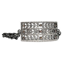 Floral Vintage White Champagne Diamond Rectangular Cut Out Double Wrap Bracelet