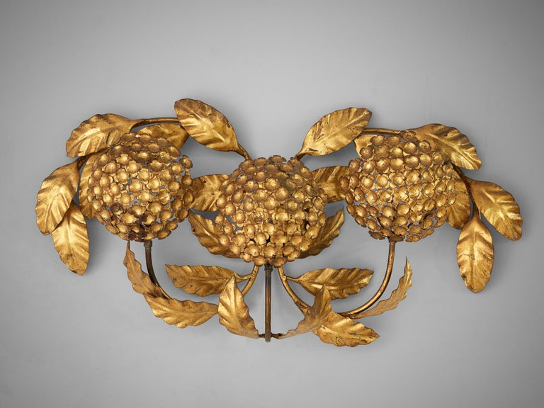 20th Century Floral Wall Light in Brass For Sale