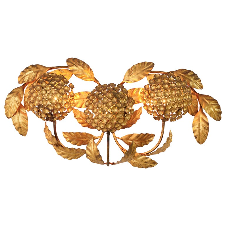 Floral Wall Light in Brass For Sale