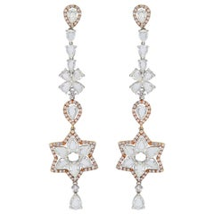 Floral White Diamond Long Chandelier Earring Studded in 18 Karat Gold