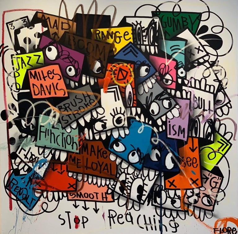 Flore Abstract Painting - Stop Reaching Man...