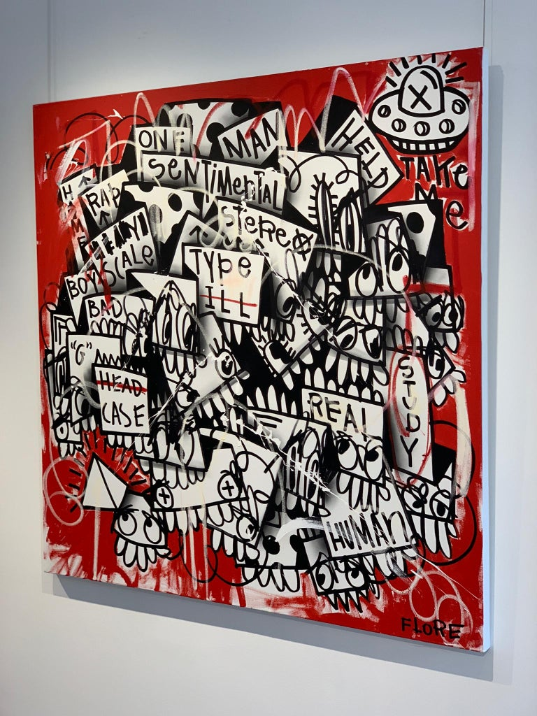 The Red One - Gray Abstract Painting by Flore