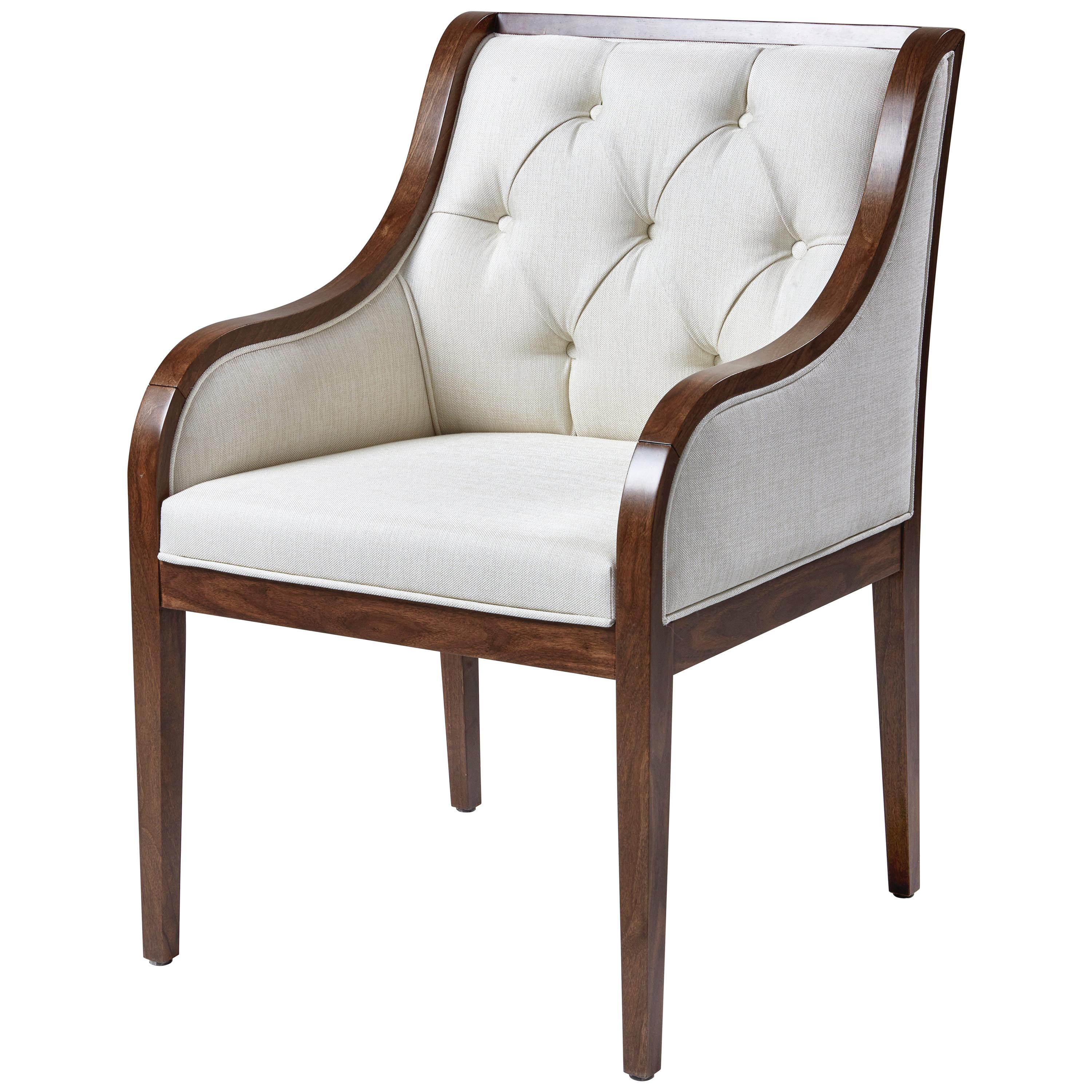 Florence Chair, Fully Upholstered in White Fabric and Framed in Wood Chair