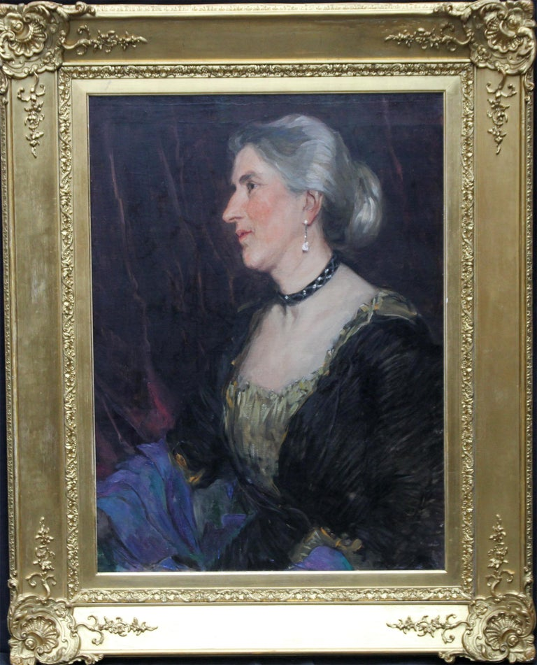Portrait of a Lady -British American female artist 19thC Socialite oil painting  For Sale 5