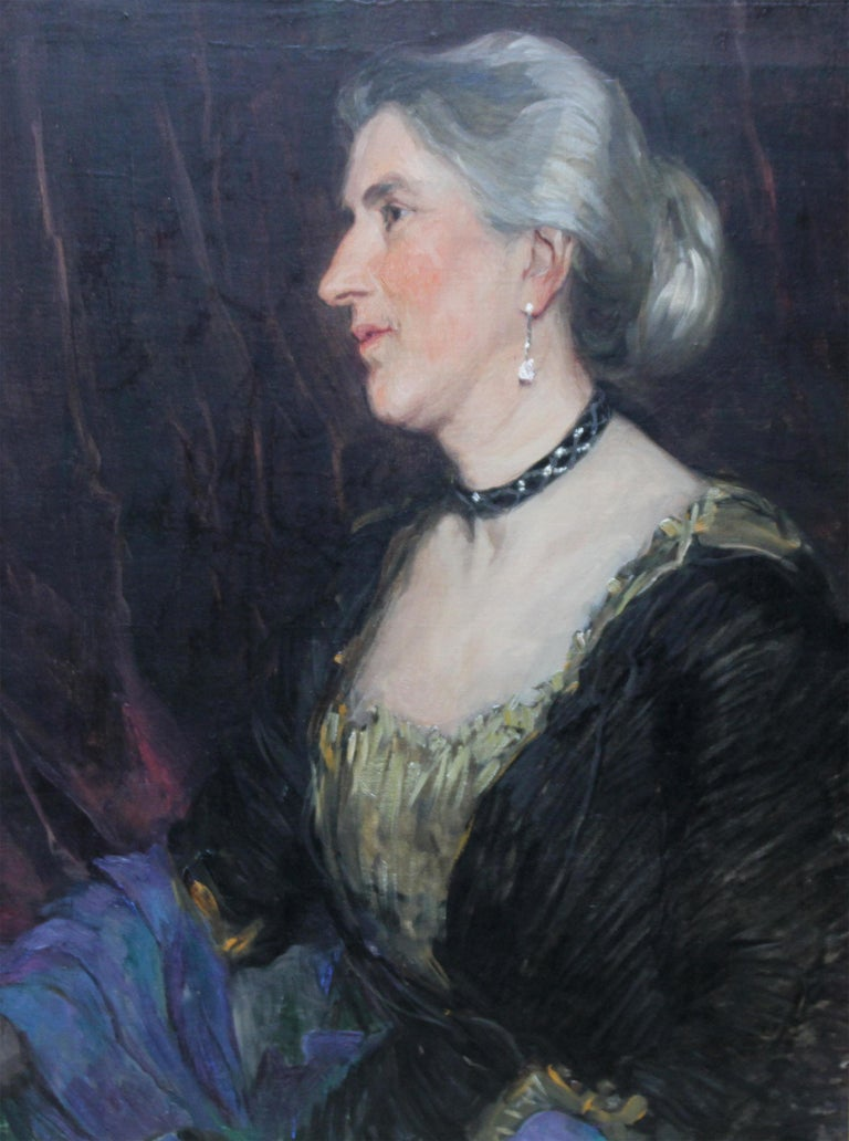 Portrait of a Lady -British American female artist 19thC Socialite oil painting  - Painting by Florence Kate Upton