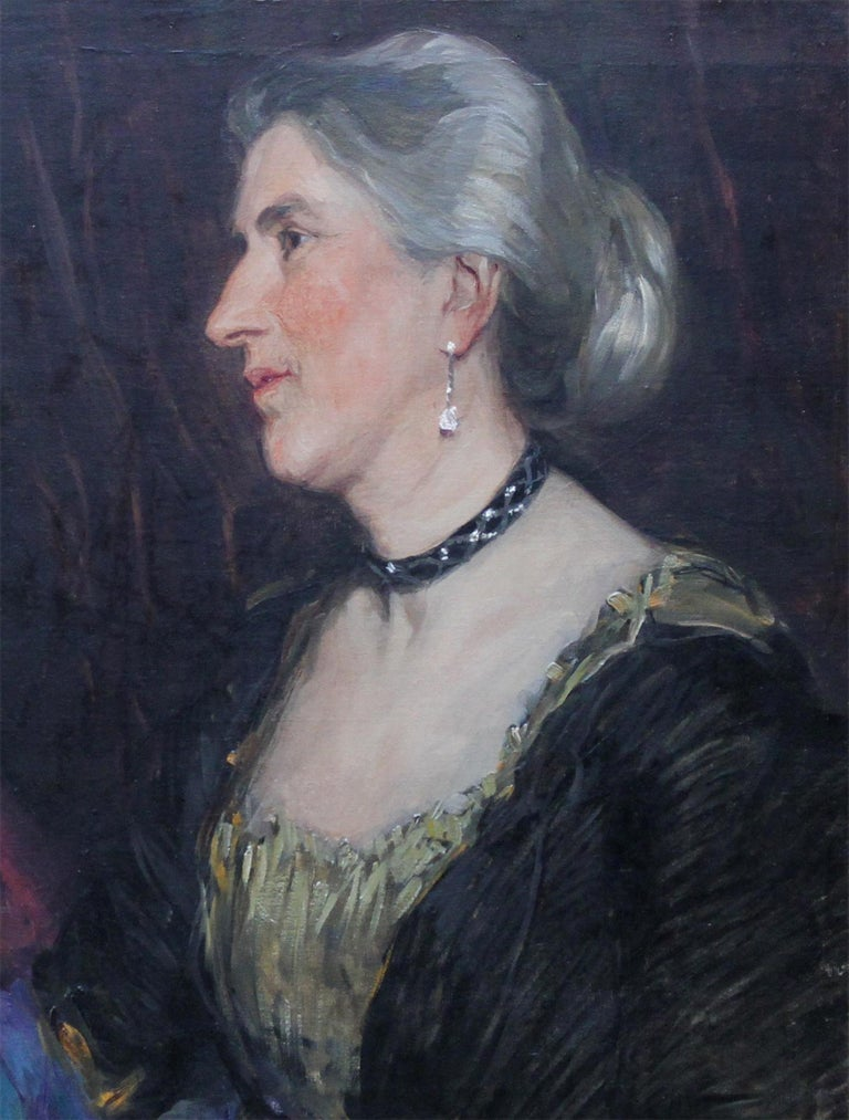 Portrait of a Lady -British American female artist 19thC Socialite oil painting  - Impressionist Painting by Florence Kate Upton