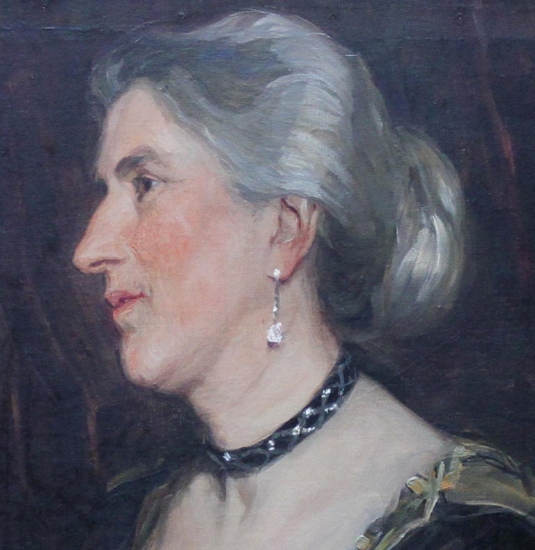 Portrait of a Lady -British American female artist 19thC Socialite oil painting  - Black Portrait Painting by Florence Kate Upton
