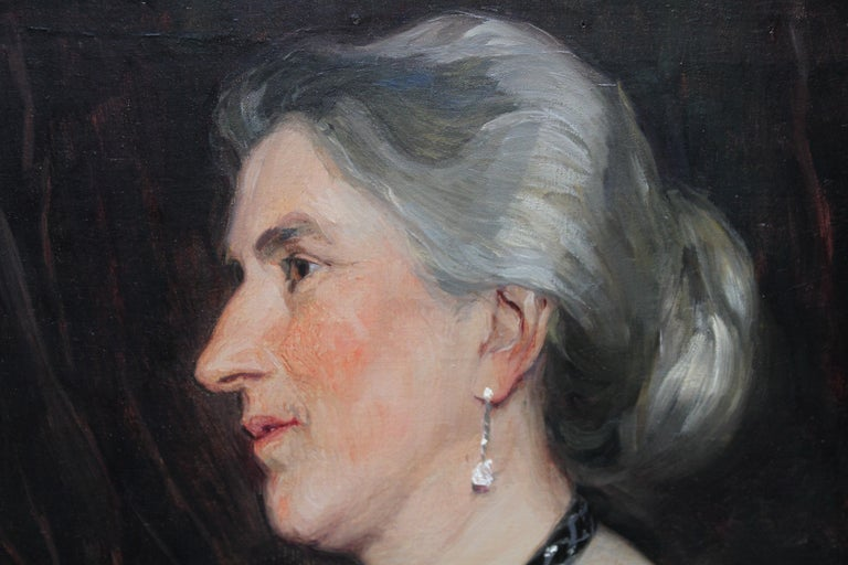 Portrait of a Lady -British American female artist 19thC Socialite oil painting  For Sale 4