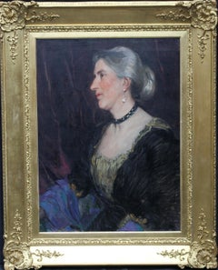 Portrait of a Lady -British American female artist 19thC Socialite oil painting