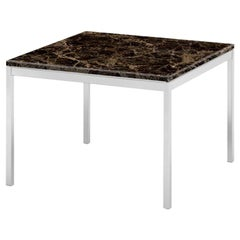 "Florence Knoll 23"" Square Coffee Table, Uncoated Emperador Dark Marble & Chrome"