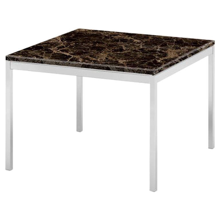 "Florence Knoll 23"" Square Coffee Table, Uncoated Emperador Dark Marble & Chrome  For Sale"