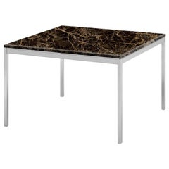 "Florence Knoll 29"" End Table, Uncoated Emperador Dark Marble & Chrome Frame"