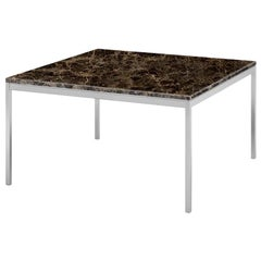"Florence Knoll 35"" End Table, Polished Emperador Dark Marble & Chrome Frame"