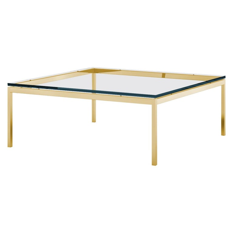 Florence Knoll Square Low Coffee Table, Glass Top & Gold Frame  For Sale