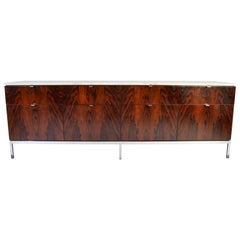 Florence Knoll 8 Drawer Rosewood Credenza with Carrara Marble Top