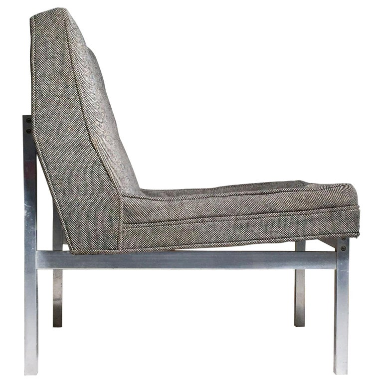 Florence Knoll Style Aluminum Lounge Chair For Sale