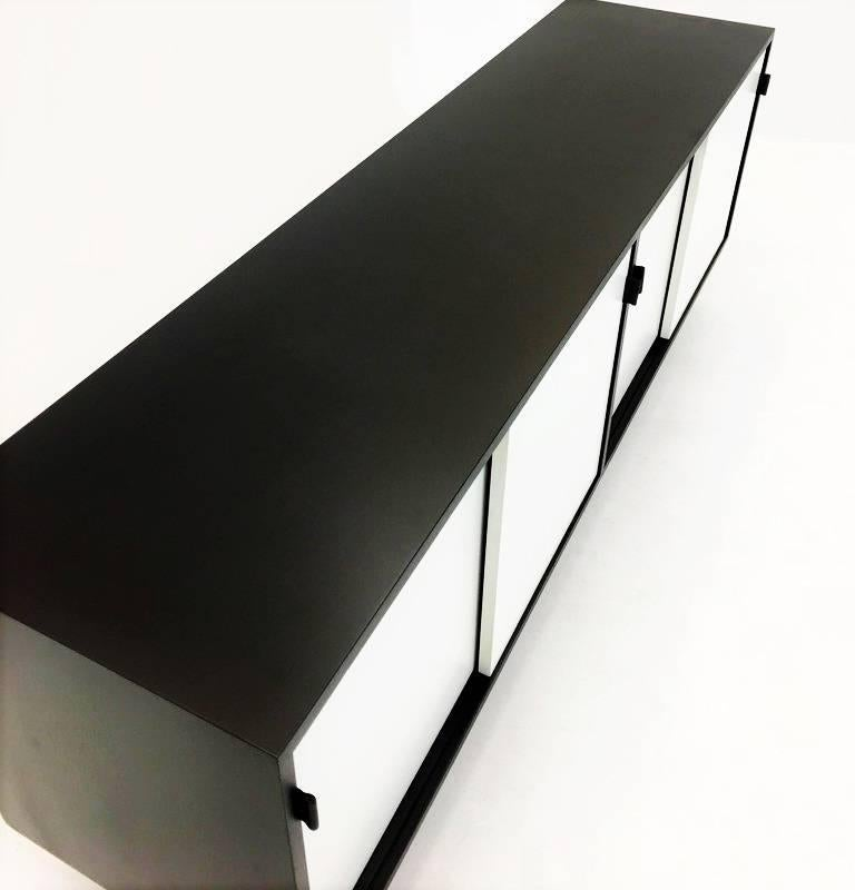 Wood Florence Knoll Black and White Lacquered Credenza For Sale