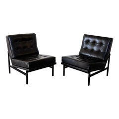 Florence Knoll Black Leather Lounge Chairs