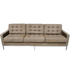 Florence Knoll Brown Leather Sofa