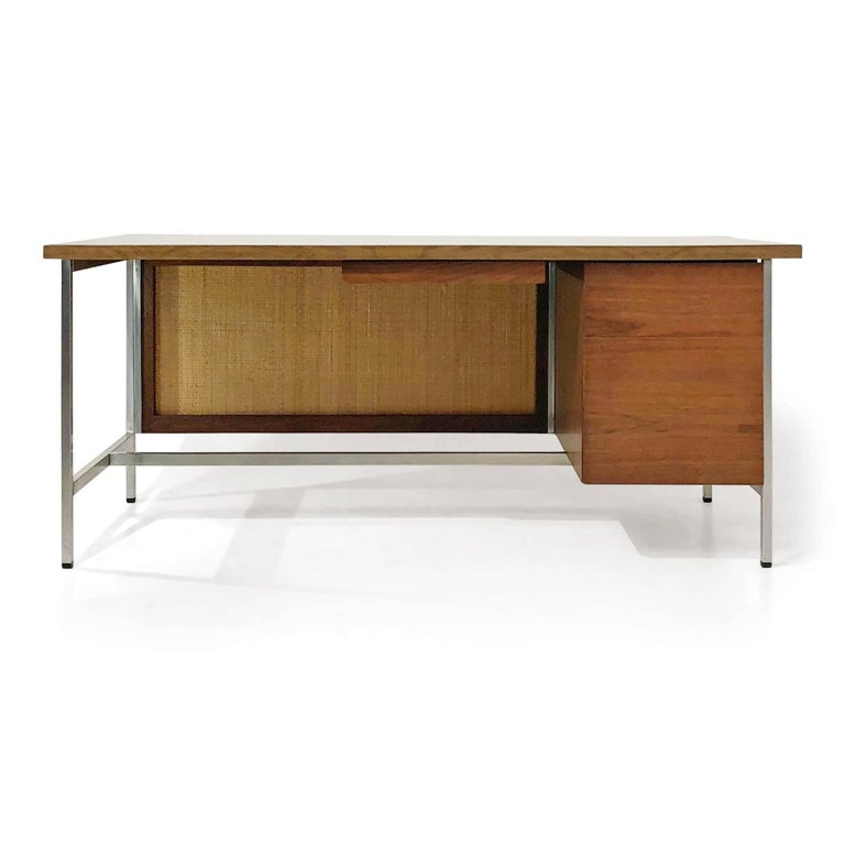 American Florence Knoll Caned Executive Desk, circa 1960 For Sale