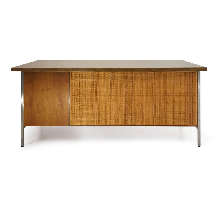 Mid-20th Century Florence Knoll Caned Executive Desk, circa 1960 For Sale