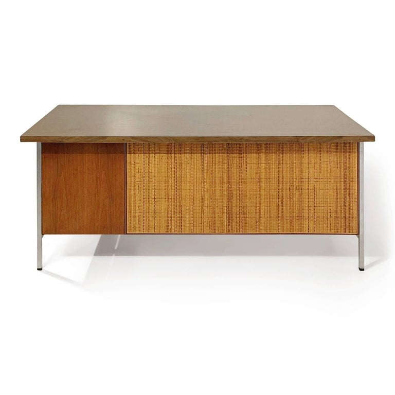 Florence Knoll Caned Executive Desk, circa 1960 For Sale 1