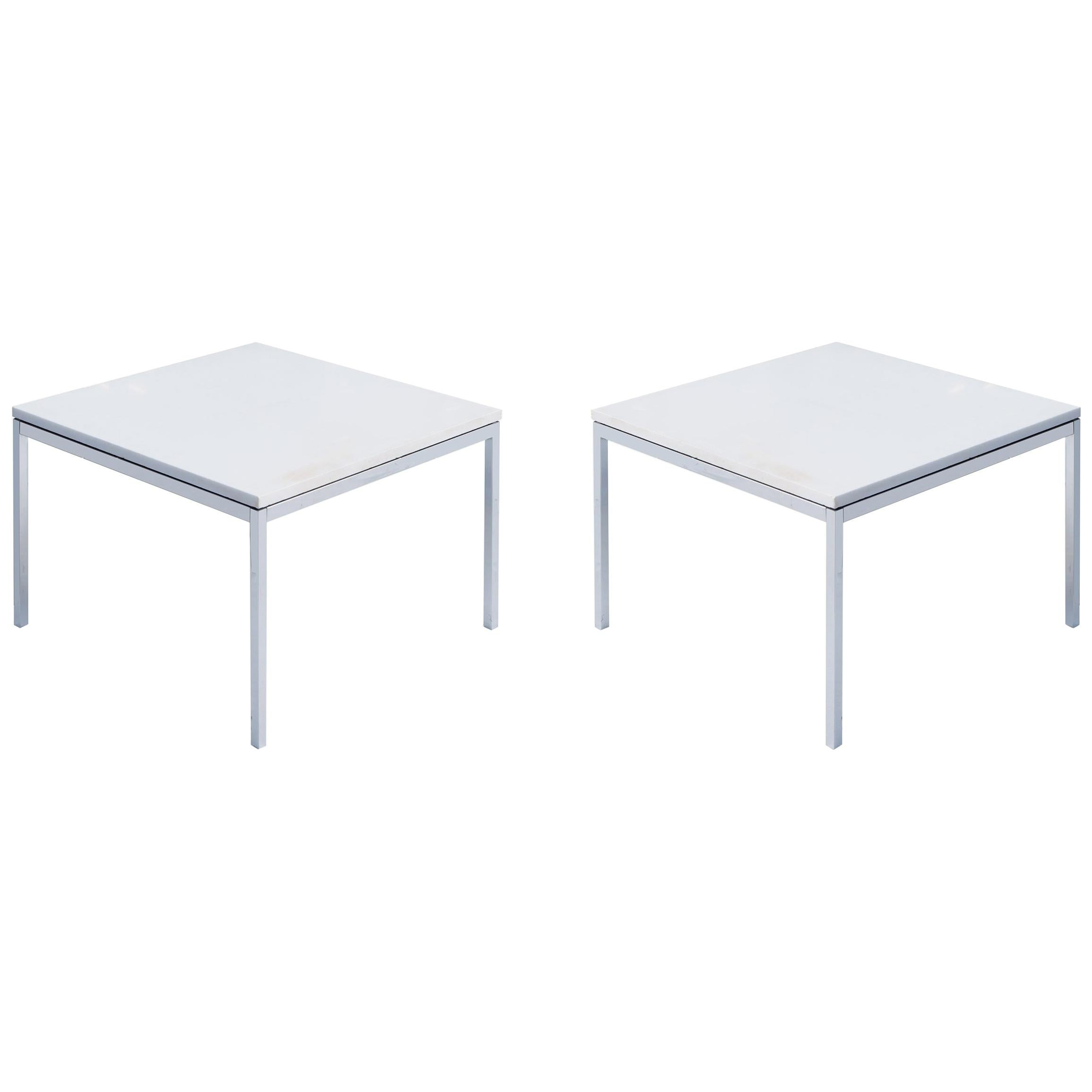 Florence Knoll Coffee Side Tables in White Marble, Pair