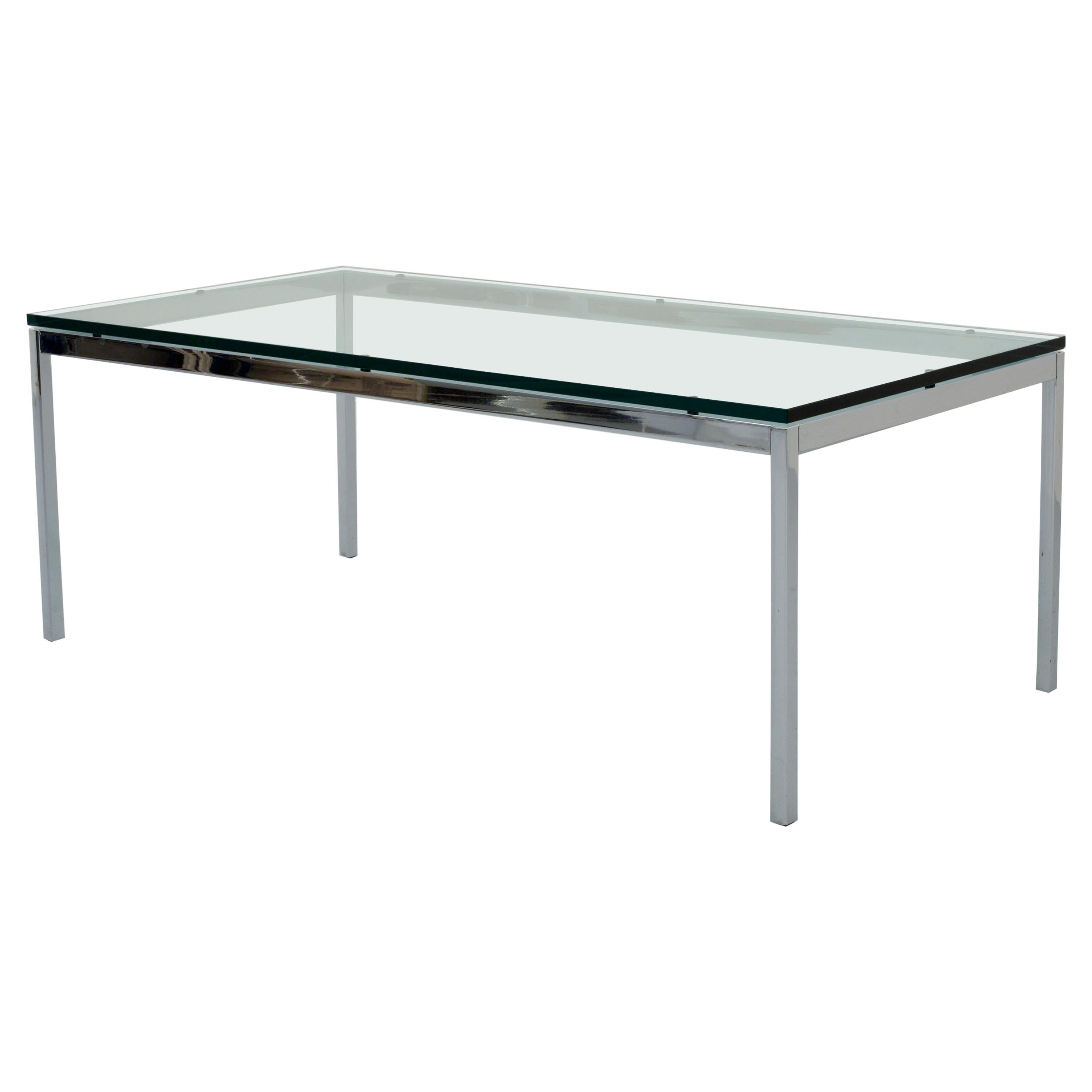 Florence Knoll Coffee Table in Glass and Chrome, USA, 1970s
