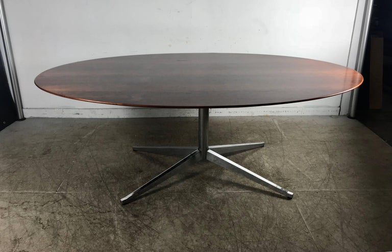 Steel Florence Knoll Conference or Dining Table, Rosewood Top for Knoll For Sale