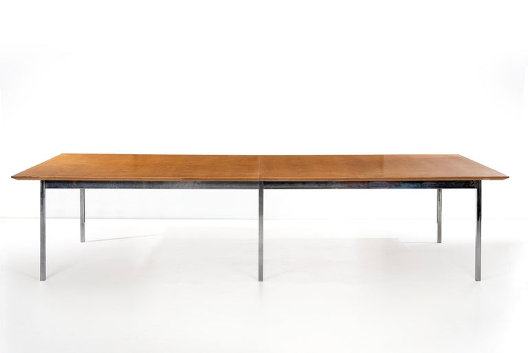 Florence Knoll for Knoll, custom ordered for standard oil in Los Angeles large-scale table, features book-matched bleached oak veneer with classic Knoll beveled edge, square tubular base structure. Knoll label on underside.
