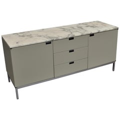 Florence Knoll Credenza in Grey/Green and Marble, 1961