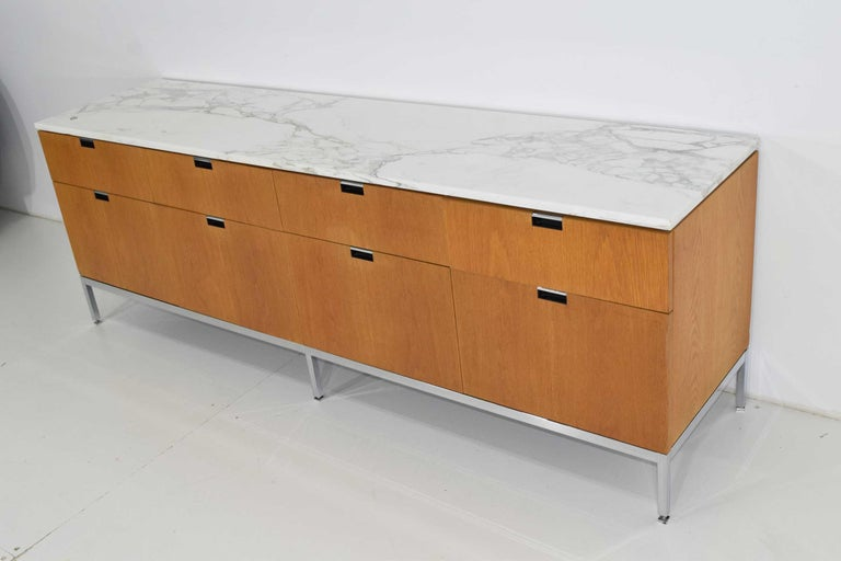 20th Century Florence Knoll Credenza in White Oak and Calacutta Marble For Sale