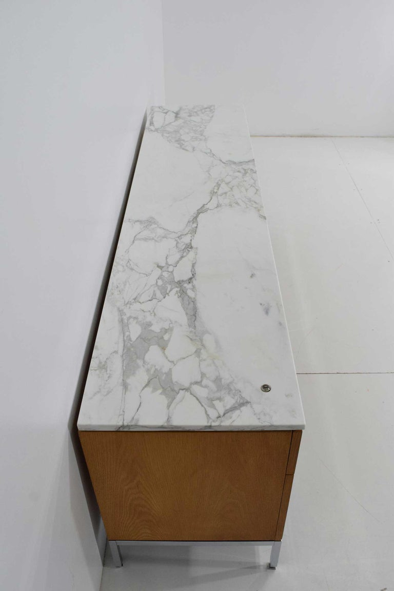 Chrome Florence Knoll Credenza in White Oak and Calacutta Marble For Sale