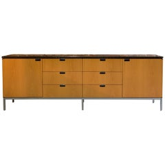 Florence Knoll Credenza Sideboard Oak and Nero Marquina Marble Original, 1970s