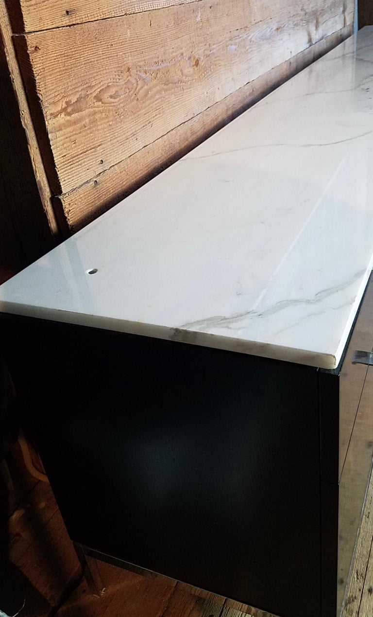 Chrome Florence Knoll Credenza / Sideboard Original Calacatta Marble Top 1961 For Sale