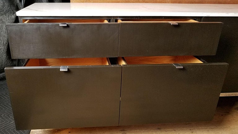 American Florence Knoll Credenza / Sideboard Original Calacatta Marble Top 1961 For Sale