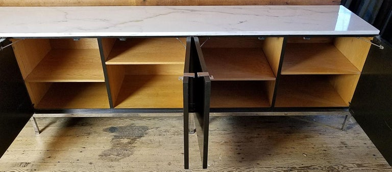 Ebonized Florence Knoll Credenza / Sideboard Original Calacatta Marble Top 1961 For Sale