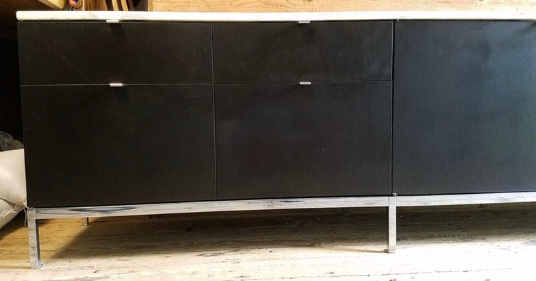 Mid-20th Century Florence Knoll Credenza / Sideboard Original Calacatta Marble Top 1961 For Sale